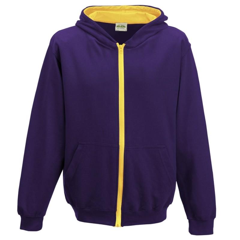 Vaikiškas dvispalvis džemperis su užtrauktuku ir gobtuvu