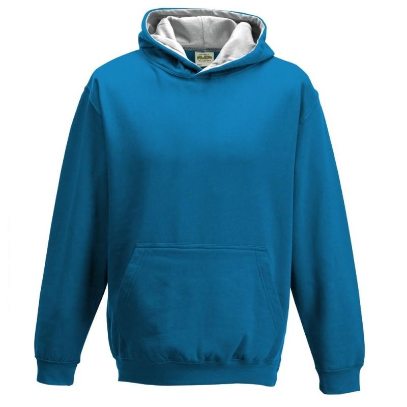 Vaikiškas dvispalvis džemperis su gobtuvu