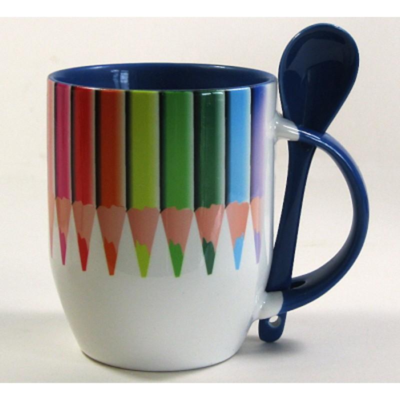 Dvispalvis puodelis su šaukšteliu