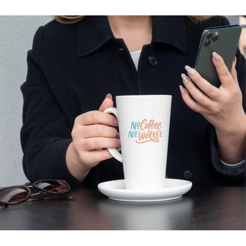 Didelis latte baltas puodelis