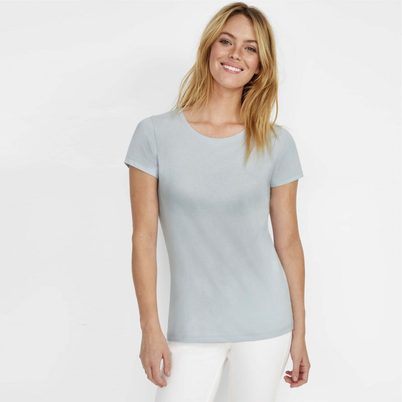 Moteriški prigludę marškinėliai apvalia apykakle